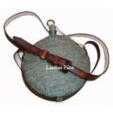 Stainless Steel Canteen with Jean Wool Cover and Leather Sling.